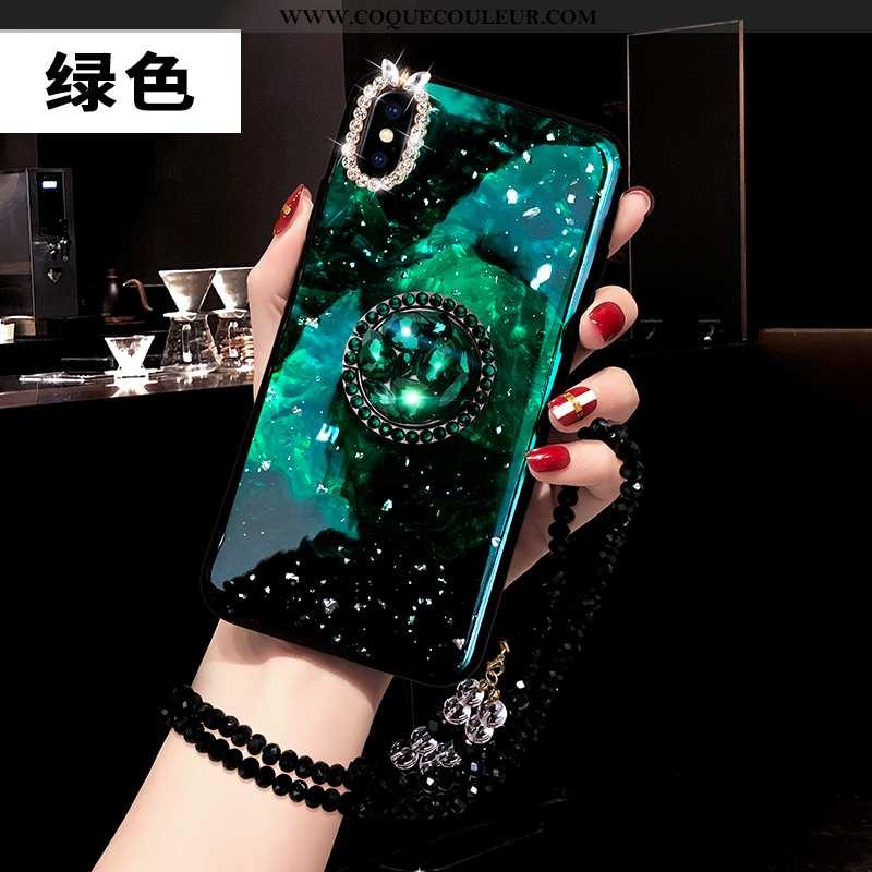 Housse iPhone Xs Protection Amoureux Téléphone Portable, Étui iPhone Xs Strass Créatif Verte