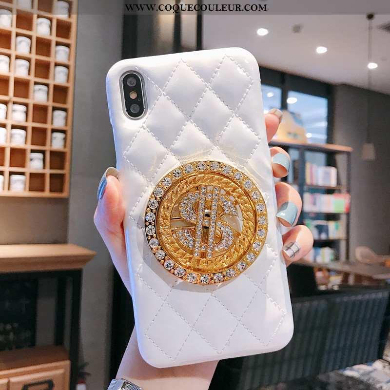 Housse iPhone Xs Cuir Téléphone Portable Coque, Étui iPhone Xs Protection Petit Blanche