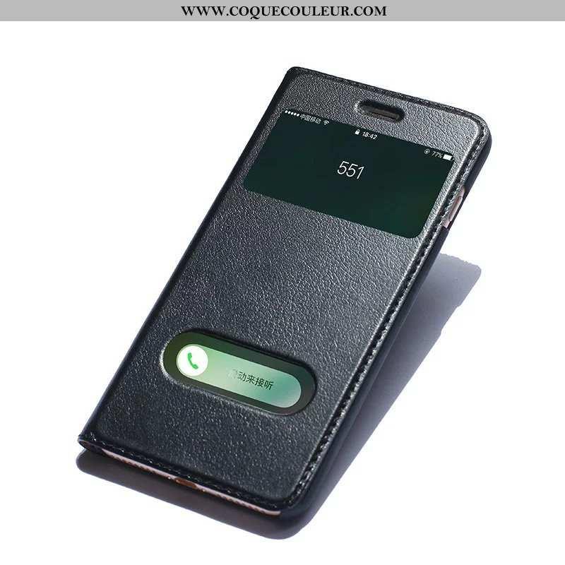 Étui iPhone Xs Protection Noir Incassable, Coque iPhone Xs Cuir Véritable Business