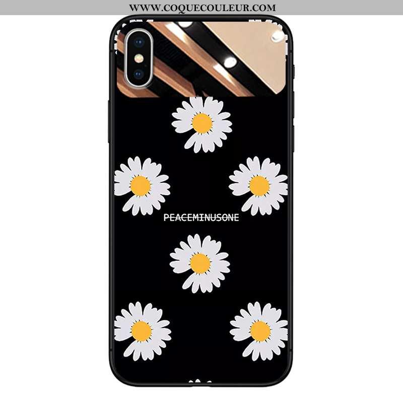 Housse iPhone Xs Tendance Téléphone Portable Petite Marguerite, Étui iPhone Xs Verre Miroir Noir