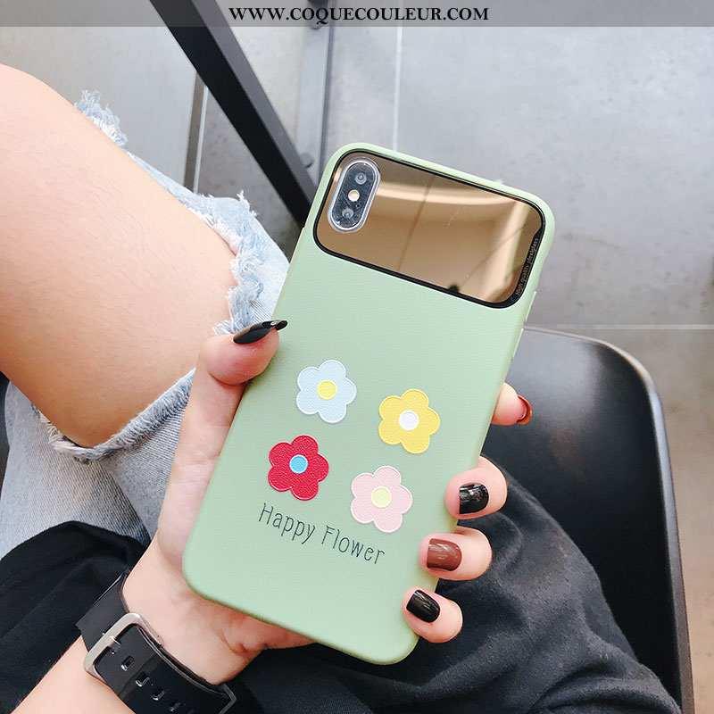 Coque iPhone Xs Tendance Tout Compris Miroir, Housse iPhone Xs Fluide Doux Silicone Verte