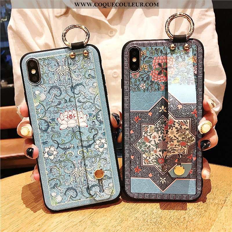 Coque iPhone Xs Vintage Vent Support, Housse iPhone Xs Silicone Étui Bleu