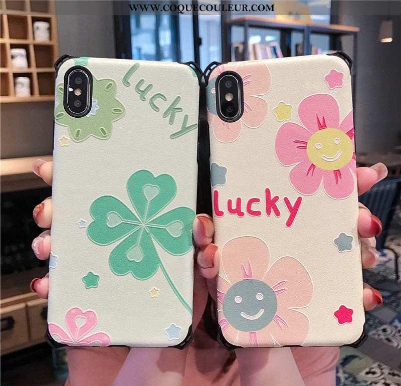 Housse iPhone Xs Fluide Doux Incassable Frais, Étui iPhone Xs Silicone Petit Rose