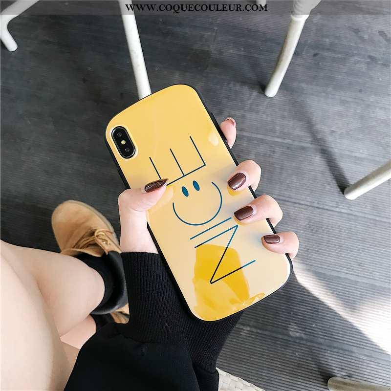 Coque iPhone Xs Créatif Silicone Souriant, Housse iPhone Xs Dessin Animé Bleu Jaune