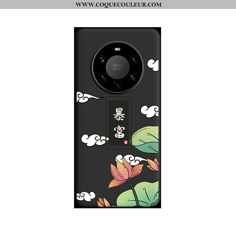 Étui Huawei Mate 40 Protection Tendance Silicone, Coque Huawei Mate 40 Délavé En Daim Créatif Noir