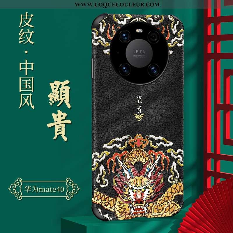 Étui Huawei Mate 40 Protection Style Chinois Tendance, Coque Huawei Mate 40 Personnalité Légère Noir