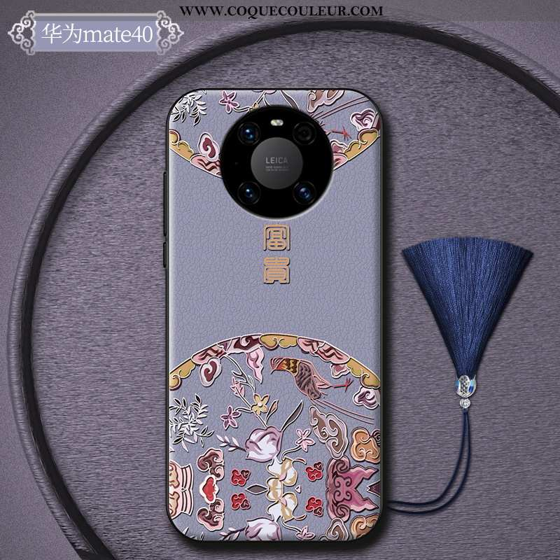 Coque Huawei Mate 40 Personnalité Incassable Mode, Housse Huawei Mate 40 Créatif Style Chinois Viole