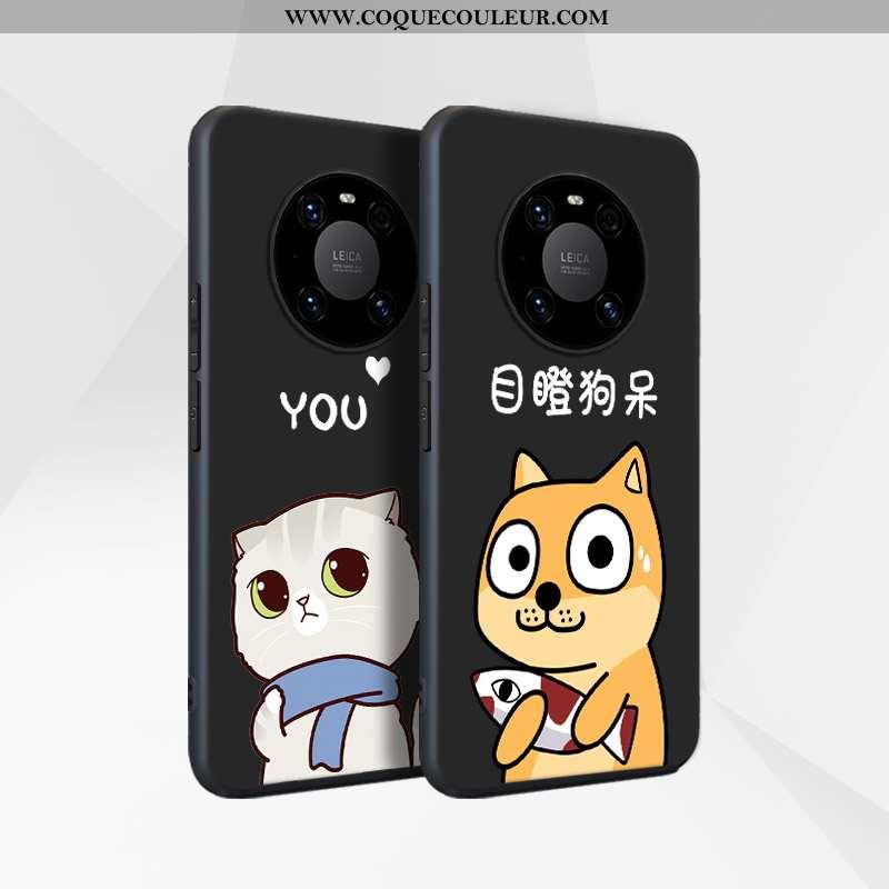 Coque Huawei Mate 40 Protection Incassable Noir, Housse Huawei Mate 40 Délavé En Daim Luxe Noir