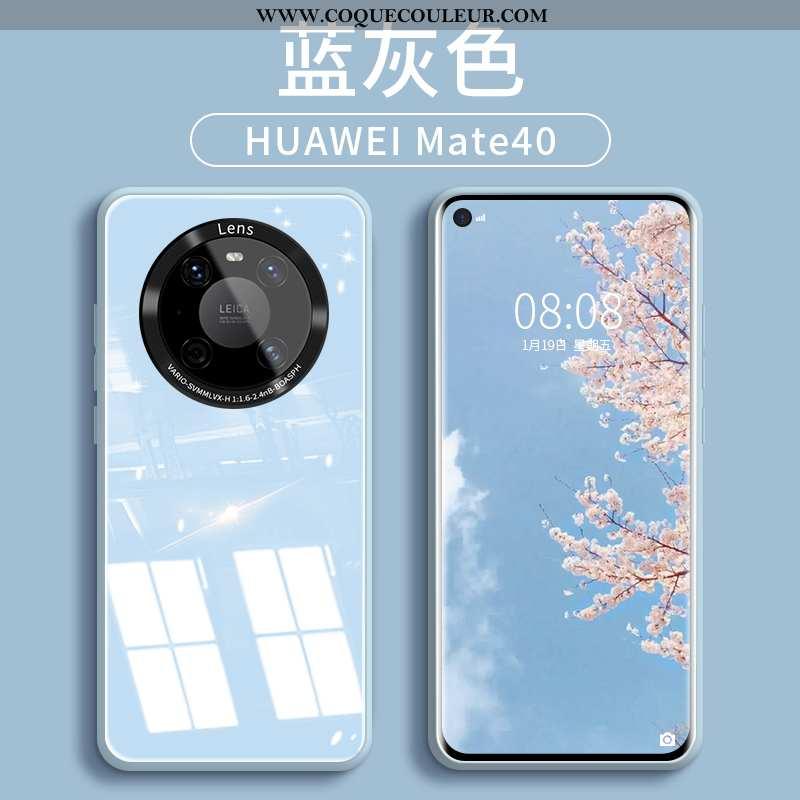 Housse Huawei Mate 40 Créatif Silicone Bleu, Étui Huawei Mate 40 Tendance Téléphone Portable Bleu