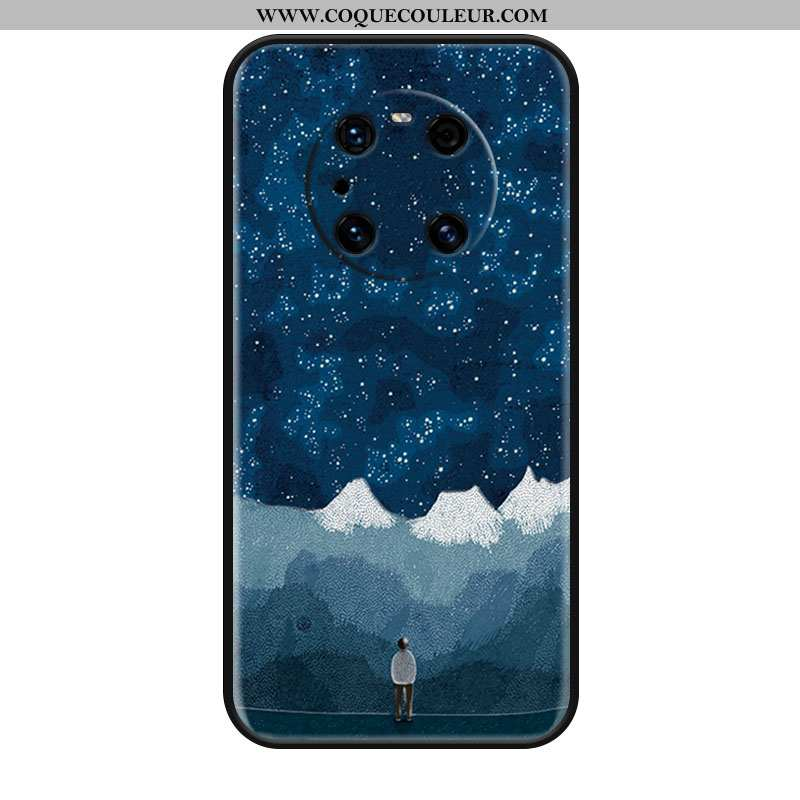 Étui Huawei Mate 40 Pro Créatif Bleu Téléphone Portable, Coque Huawei Mate 40 Pro Gaufrage Protectio