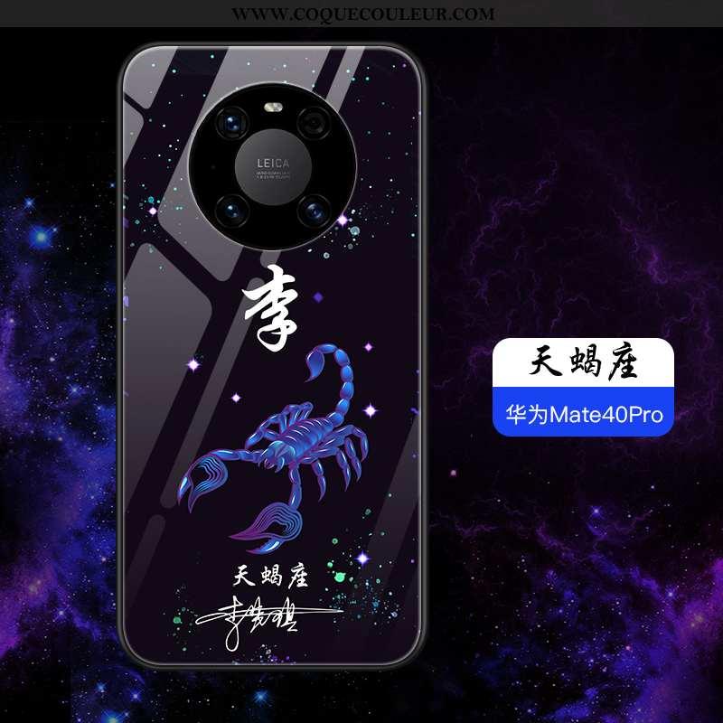 Étui Huawei Mate 40 Pro Légère Incassable Personnalité, Coque Huawei Mate 40 Pro Silicone Verre Bleu