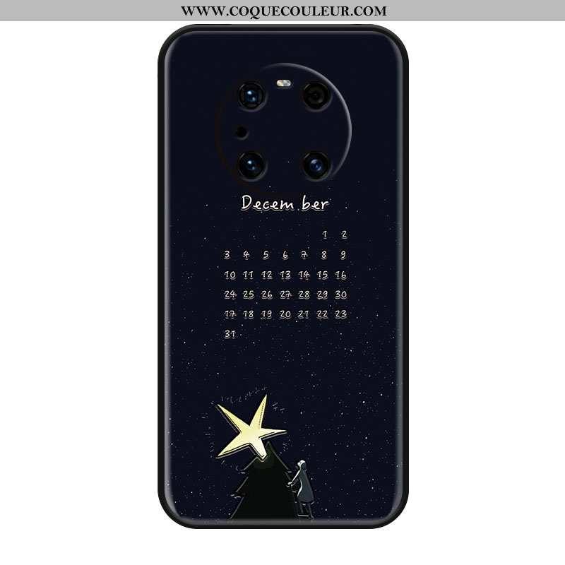 Étui Huawei Mate 40 Pro Gaufrage Créatif Étoile, Coque Huawei Mate 40 Pro Tendance Protection Noir