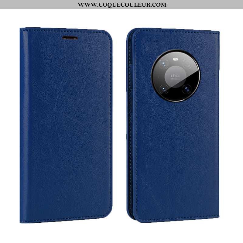 Étui Huawei Mate 40 Pro Luxe Cuir Étui, Coque Huawei Mate 40 Pro Cuir Véritable Qualité Bleu