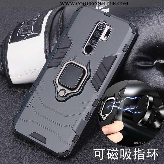 Coque Xiaomi Redmi 9 Protection Incassable Support, Housse Xiaomi Redmi 9 Délavé En Daim Noir