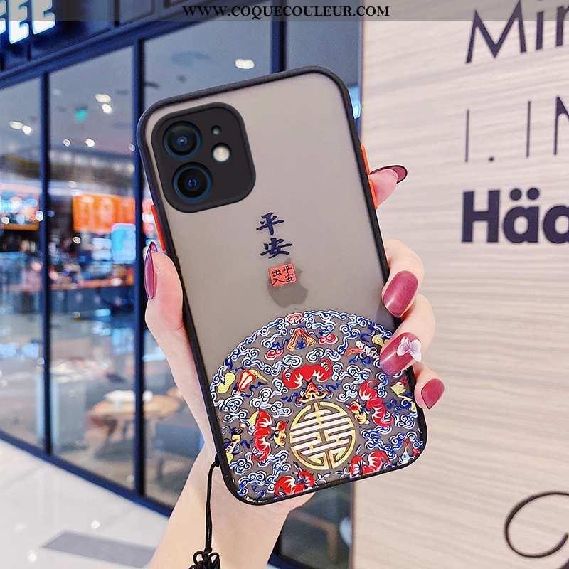 Housse iPhone 12 Mini Tendance Noir Protection, Étui iPhone 12 Mini Silicone