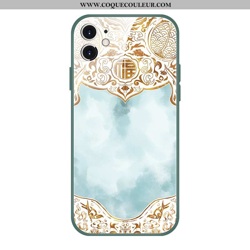 Étui iPhone 12 Mini Tendance Style Chinois Coque, Coque iPhone 12 Mini Verre Tout Compris Bleu