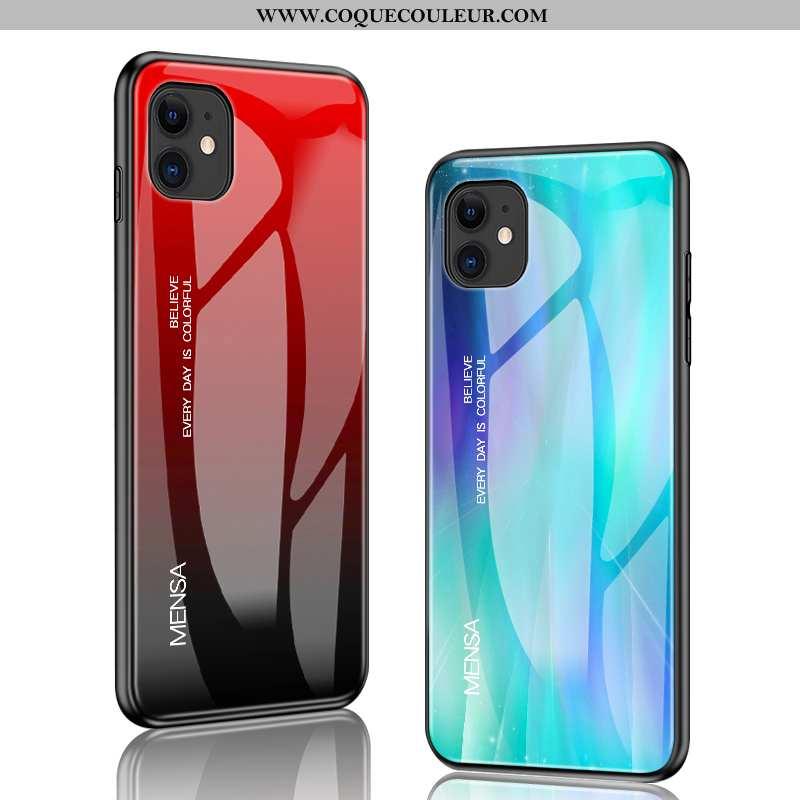 Housse iPhone 12 Mini Silicone Coque Verre, Étui iPhone 12 Mini Protection Rat Rouge