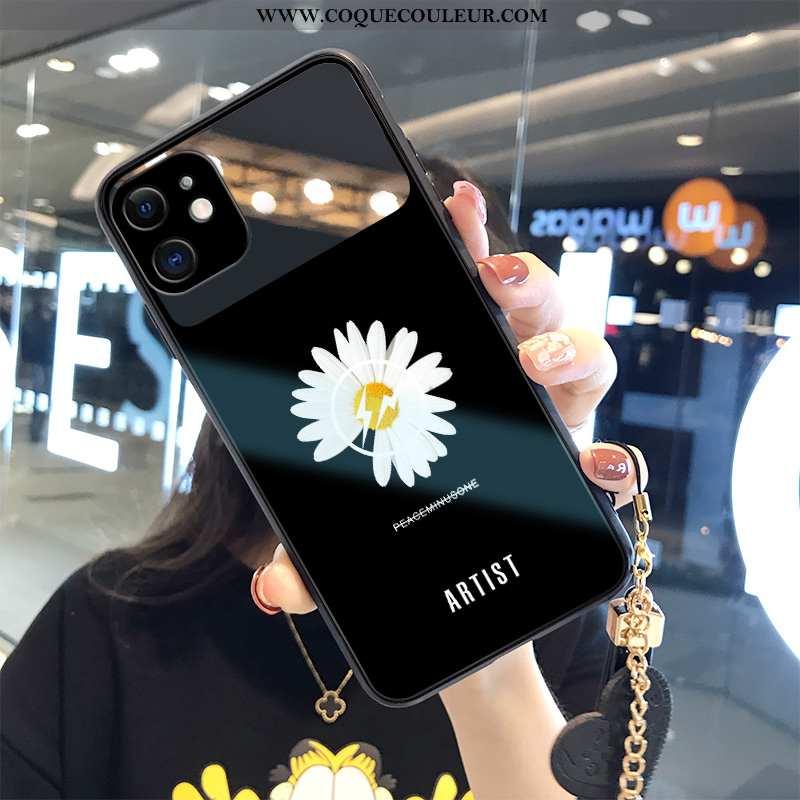 Étui iPhone 12 Mini Verre Petit Fleur, Coque iPhone 12 Mini Ornements Suspendus Mode Noir