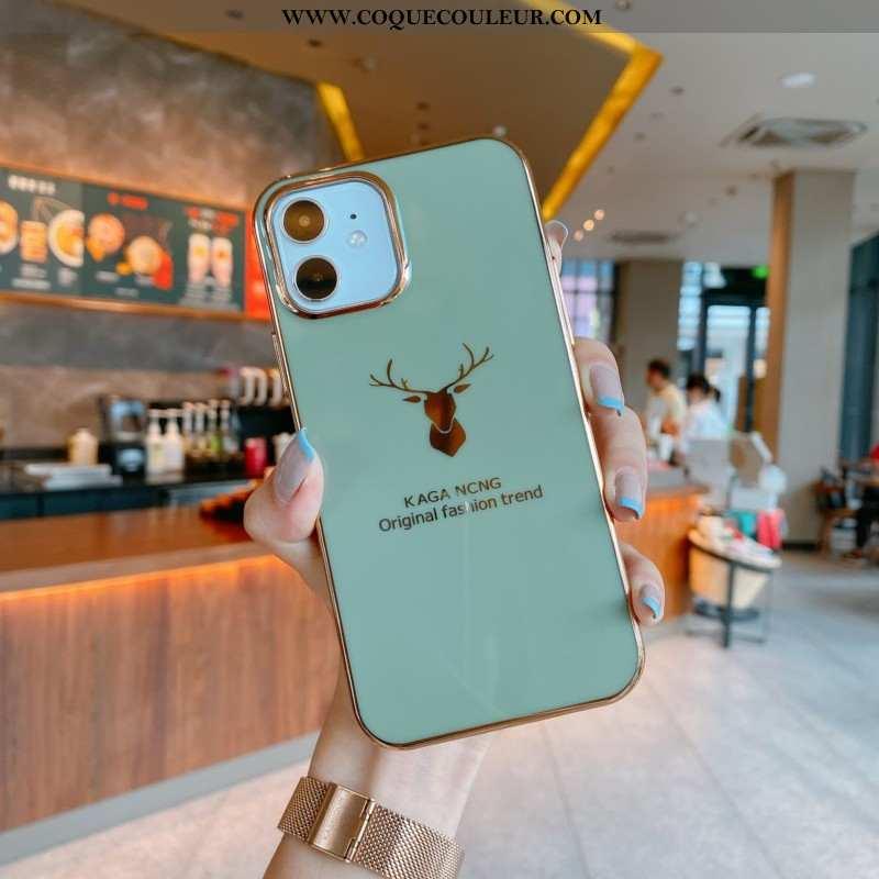 Coque iPhone 12 Mini Créatif Net Rouge Vert, Housse iPhone 12 Mini Ultra Silicone Verte