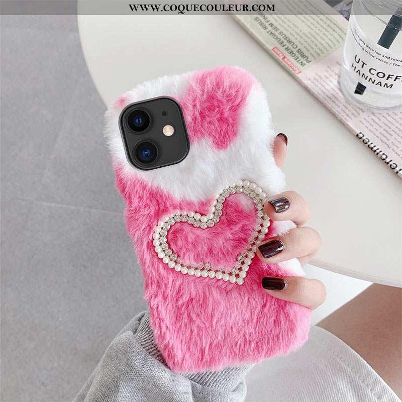 Housse iPhone 12 Mini Peluche Chauds Vent, Étui iPhone 12 Mini Couture Couleurs Coque Rose