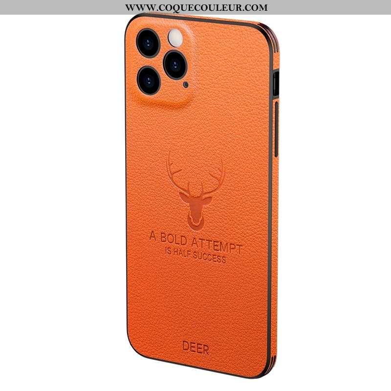 Étui iPhone 12 Pro Max Cuir Véritable Fluide Doux Amoureux, Coque iPhone 12 Pro Max Ultra Elk Orange