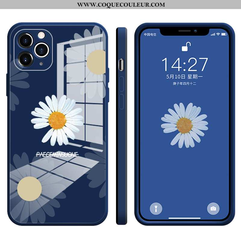 Housse iPhone 12 Pro Max Tendance Verre Coque, Étui iPhone 12 Pro Max Légère Ultra Bleu