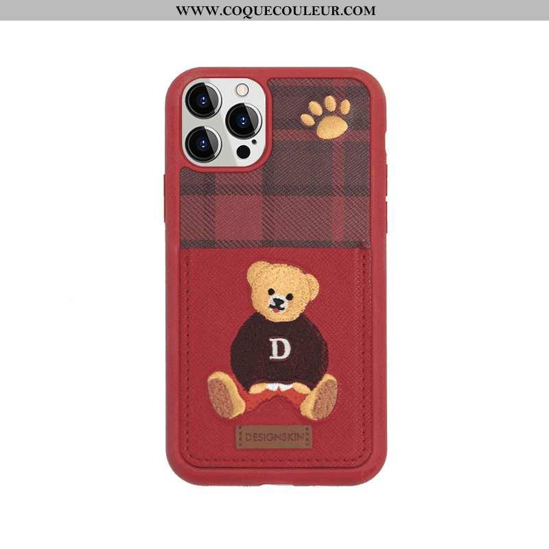 Coque iPhone 12 Pro Max Cuir Carte Britanique, Housse iPhone 12 Pro Max Charmant Rouge