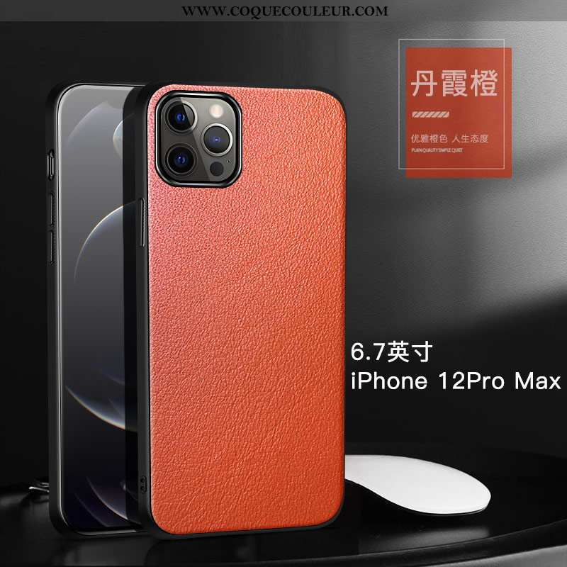 Housse iPhone 12 Pro Max Cuir Véritable Coque Bovins, Étui iPhone 12 Pro Max Cuir Protection Orange