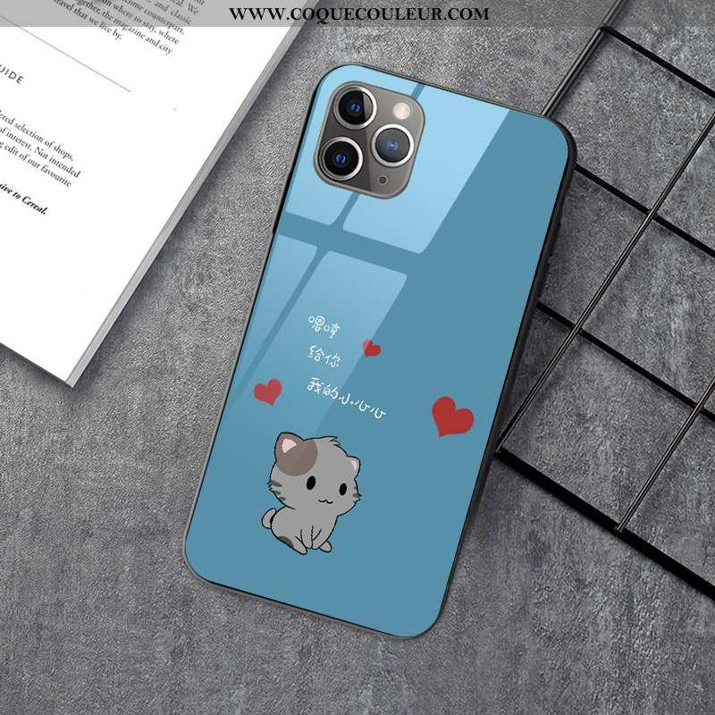 Étui iPhone 12 Pro Dessin Animé Chat Verre, Coque iPhone 12 Pro Charmant Bleu