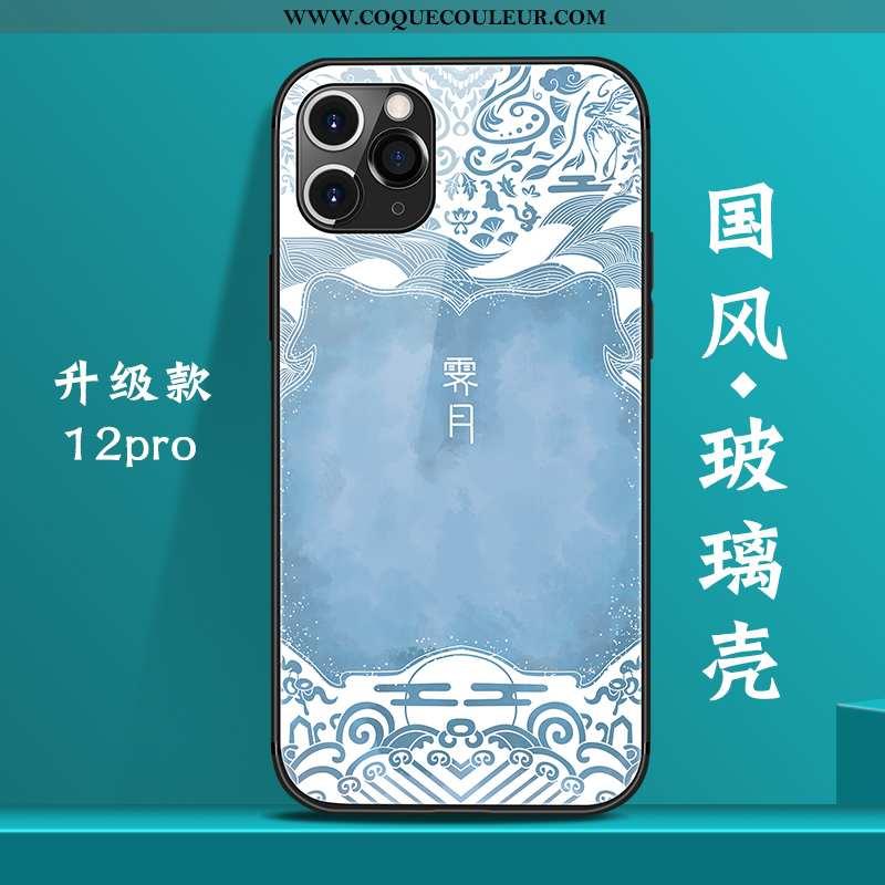 Housse iPhone 12 Pro Verre Nouveau Coque, Étui iPhone 12 Pro Personnalité Téléphone Portable Bleu