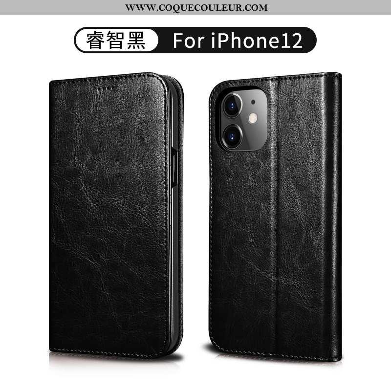Étui iPhone 12 Cuir Véritable Protection Or, Coque iPhone 12 Portefeuille Téléphone Portable Noir