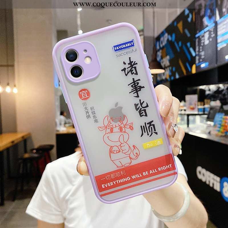 Housse iPhone 12 Tendance Violet Bovins, Étui iPhone 12 Silicone Protection