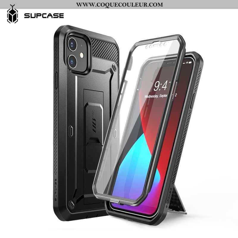 Étui iPhone 12 Tendance Difficile Délavé En Daim, Coque iPhone 12 Silicone Noir