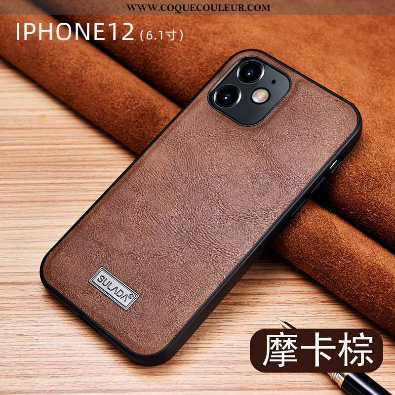 Étui iPhone 12 Cuir Luxe Tout Compris, Coque iPhone 12 Protection Marron